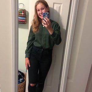 Military green long sleeve blouse